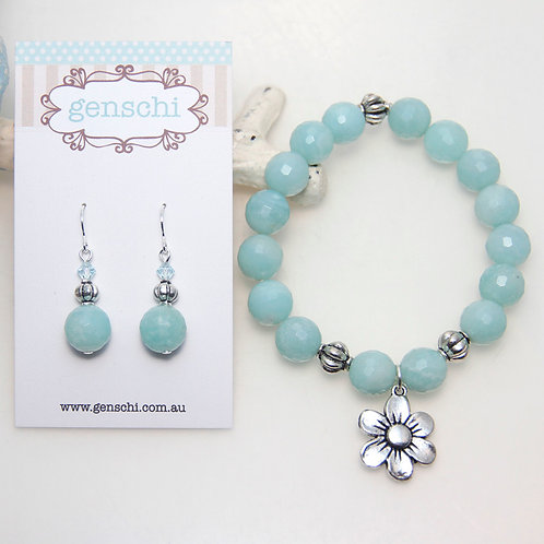 Blue Amazonite with Silver Flower Bracelet and Earring Set