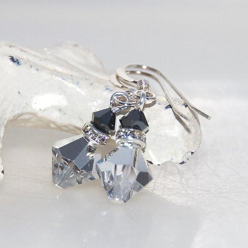 Silver and Gunmetal Swarovski Crystal Bling Drop Earrings