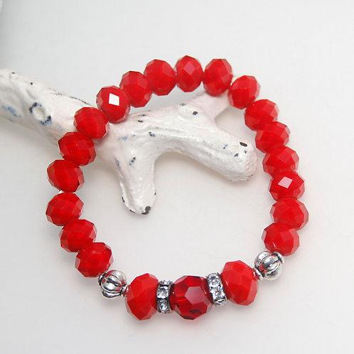 Red Crystal Beaded Elastic Bracelet