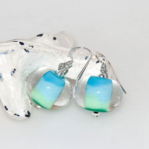 Blue Green Fade Lampwork Glass Sterling Silver Earrings