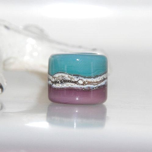 Grape Turquoise Striped Dread Bead 8.5mm Hole