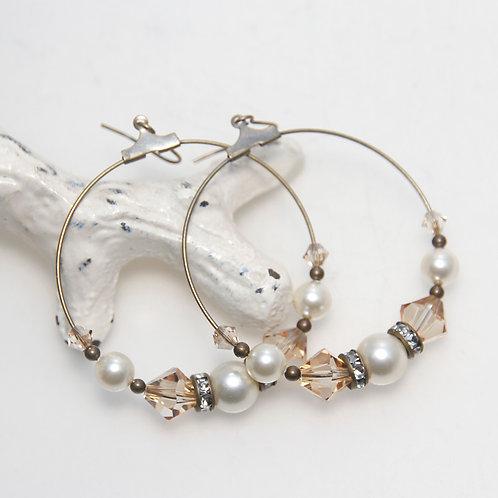 Cream Pearl and Golden Swarovski Crystals Antique Hoop Earrings