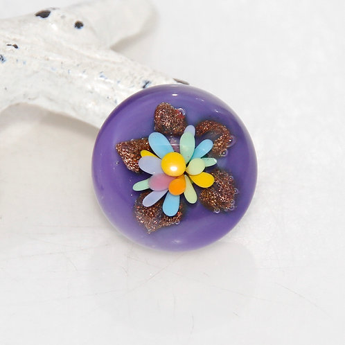 Small Pastel Flower with Purple and Goldstone Lampwork Glass Cabochon