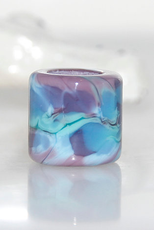 Grape and Blue Mottled Glass Dread Bead 7mm Hole