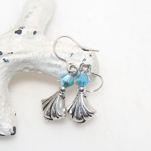 Silver and Aqua Drop Earrings