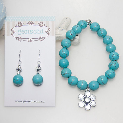 Howlite Turquoise Blue with Silver Flower Bracelet and Earring Set