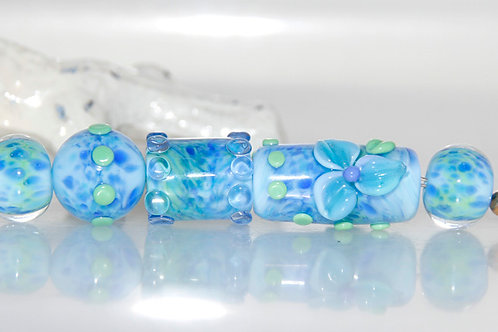 Speckled Pond Blue and Green Lampwork Glass Bead Set