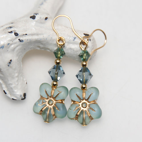 Soft Green Flower Czech and Swarovski Gold Earrings