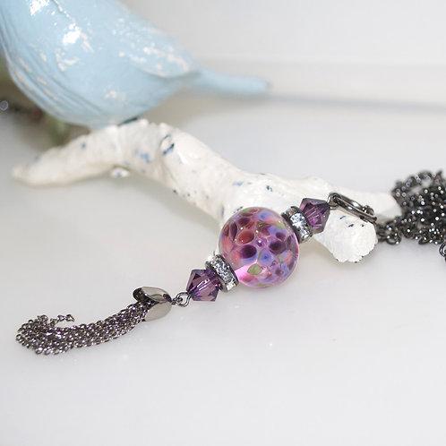 Purple Speckle Glass Tassel Necklace