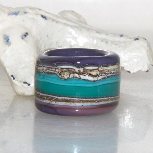 Purple and Teal Striped Organic Dread Bead