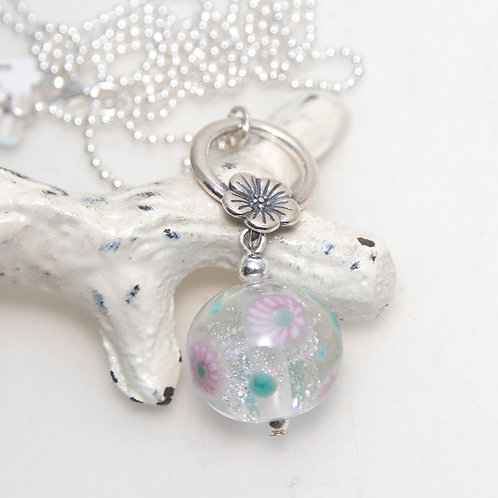 Pink Dandelion Dichroic Glass with Sterling Silver Necklace