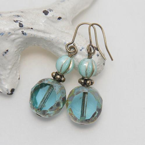 Mint and Aqua Window Czech Glass Antique Brass Earrings