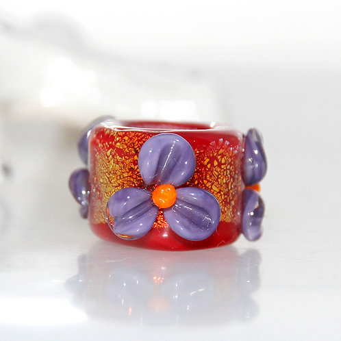 Golden Red with Purple Flowers Dread Bead 8.5mm Hole