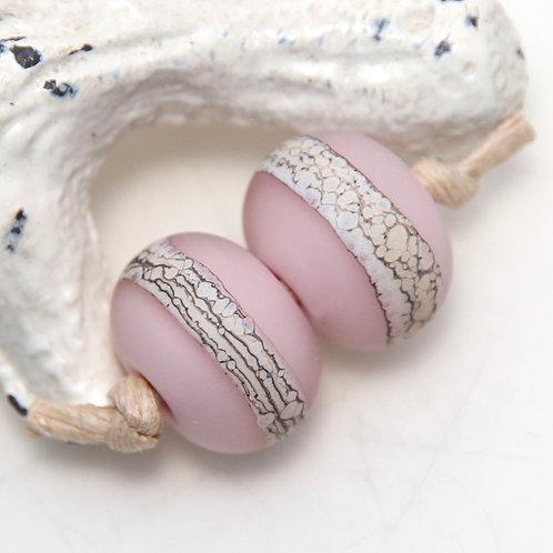 Etched Organic Pastel Pink Lampwork Glass Bead Pair