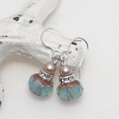 Czech Glass Milky Seafoam with Almond Pearls Earring Pair