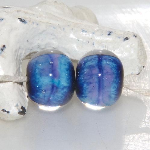 Galaxy Blue Lampwork Glass Bead Pair