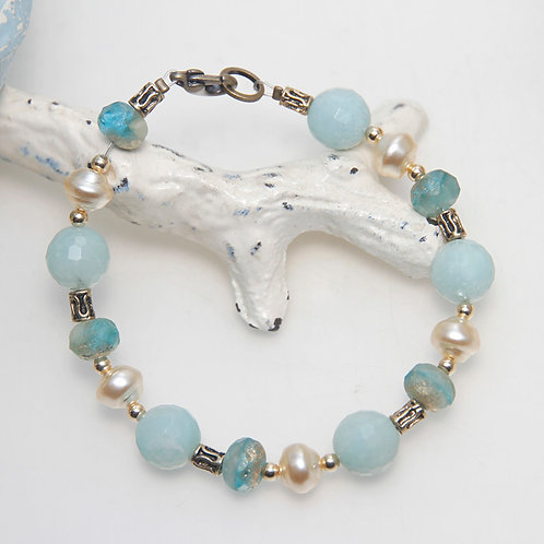 Amazonite Gold Dust and Pearl Bracelet