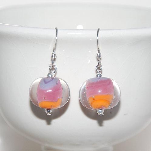 Purple Pink and Orange Lampwork Glass Sterling Silver Earrings