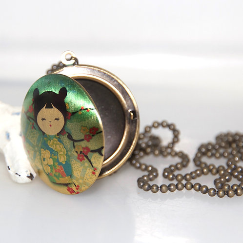 Japanese Girl Locket Ball Chain Necklace