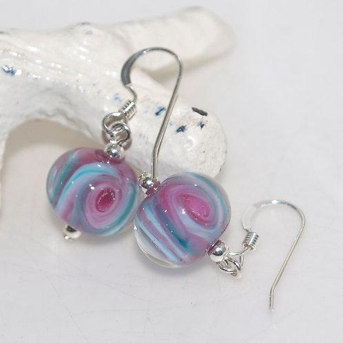 Blue Green Pink Swirly Glass Earrings