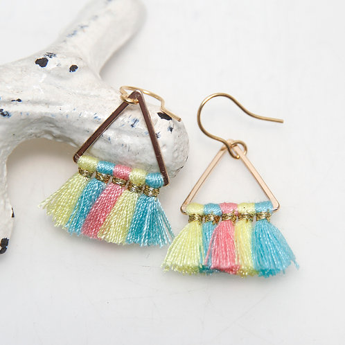 Multi Coloured Cotton Triangle Earrings
