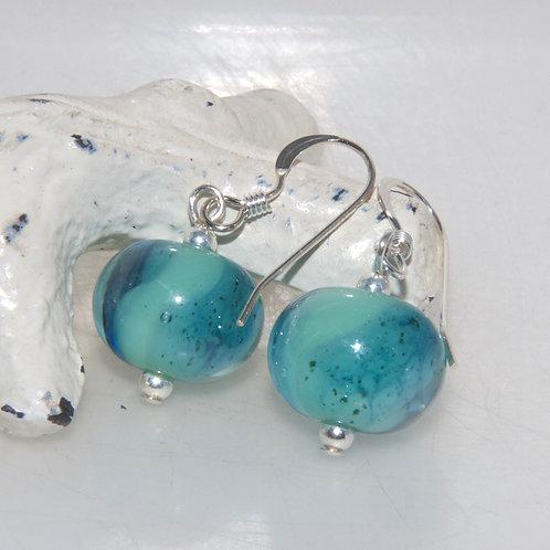 Seaweed Mint Glass Earrings