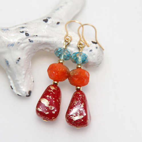 Czech Glass Red Orange and Blue Golden Splash Earrings