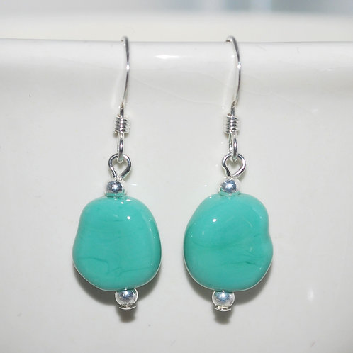 Turquoise Glass Pebble Earrings