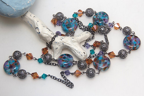 Copper Blue Speckled Glass Bead Necklace