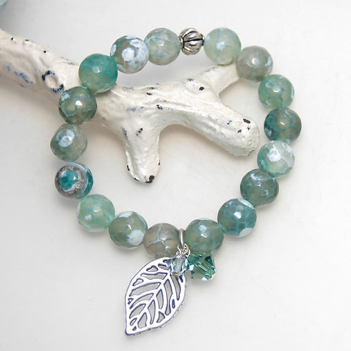 Lovely Moss Agate with Leaf Elastic Bracelet