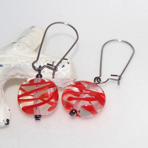 Red Splash Glass Earrings