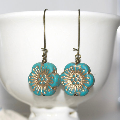 Turquoise Golden Flower Drop Earrings