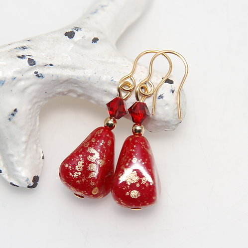 Red Drops with Golden Splash and Swarovski Crystal Earrings