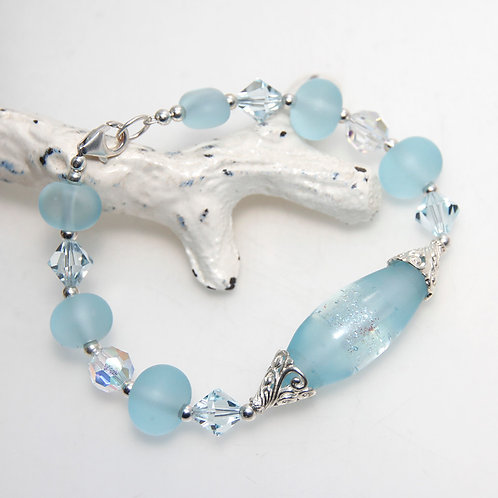 Frosted Ice Blue Crystal and Lampwork Glass Sterling Silver Bracelet