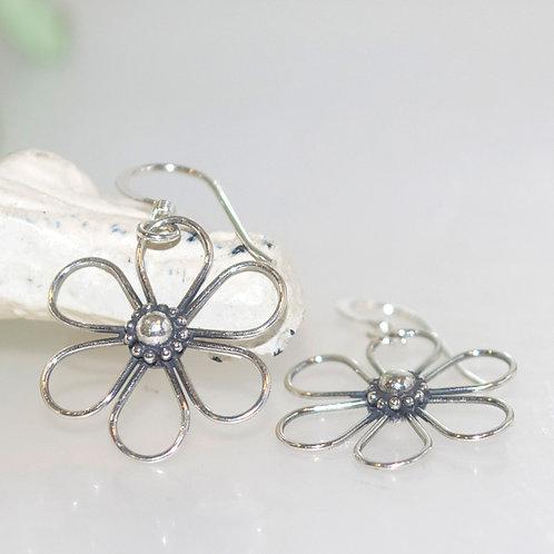 Delicate Sterling Silver Wire Flower Earrings