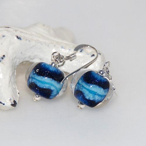 Comet Blue Glass Earrings