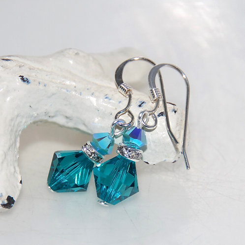Teal Green Swarovski Crystal Bling Drop Earrings