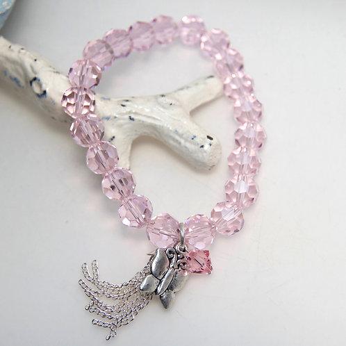 Pink Crystal Butterfly Tassel Bracelet