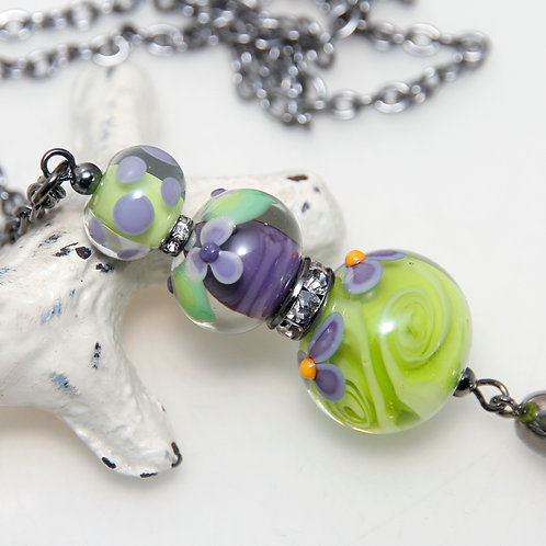 Lime and Purple Garden Lampwork Glass Tassel Necklace