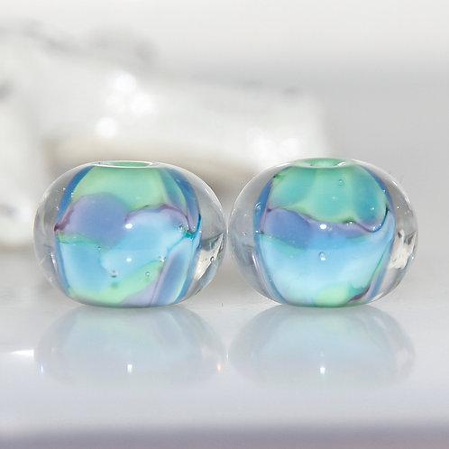 Angelite Green Purple Blue Lampwork Glass Bead Pair