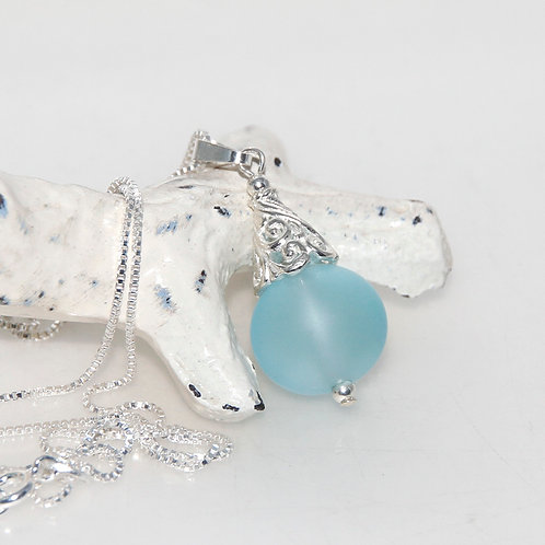 Frosted Blue Droplet Sterling Silver Caped Pendant