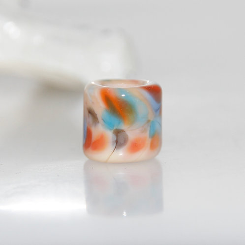 Peach and Blue Speckled Small Glass Dreadlock Bead 5.5mm Hole