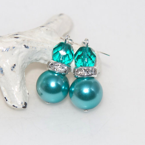 Turquoise Pearl and Faceted Glass Bling Drop Earrings