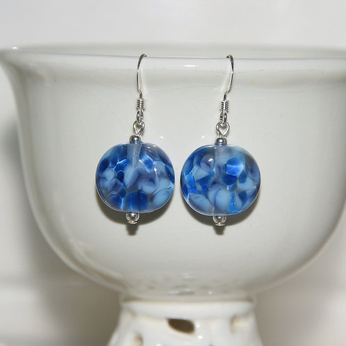 Flat Two Tone Blue Speckle Glass Earrings