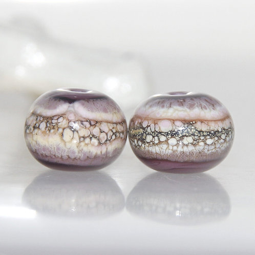 Dusty Purple Organic Lampwork Glass Bead Pair