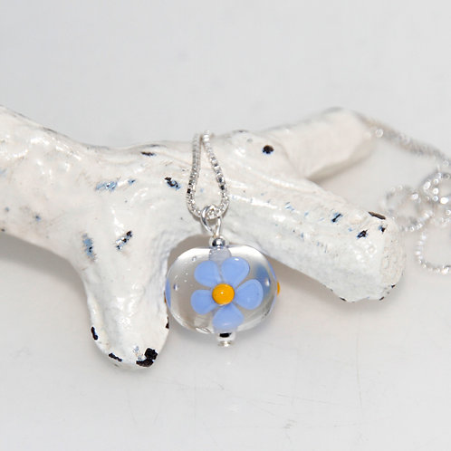 Blue and Yellow Daisy Glass Petite Sterling Silver Necklace