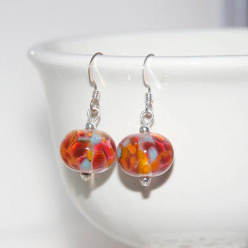 Fire Sky Speckled Lampwork Glass Sterling Silver Earrings