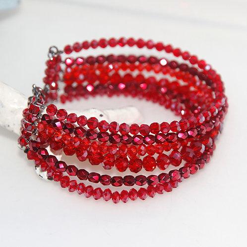 Multistrand Red Crystal Glass Beaded Bracelet