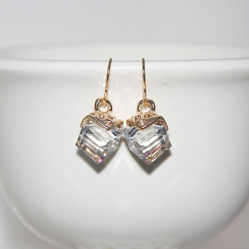 Crystal Cube with Gold Earrings