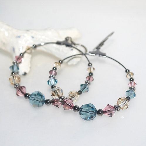 Dusty Multicolour Swarovski Crystal Hoop Earrings